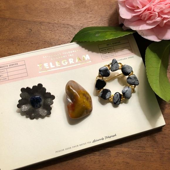 Vintage Jewelry - Nica Semi Precious Stone Vintage Brooch Set